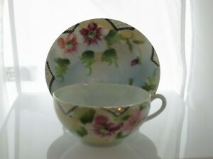 Hand Painted Nippon Moriage Cup Saucer Flowers