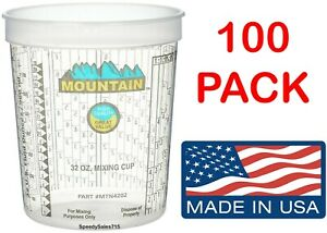 100 Pack Mountain 4202 Disposable Quart Plastic Mixing Cup New Free Shipping Usa