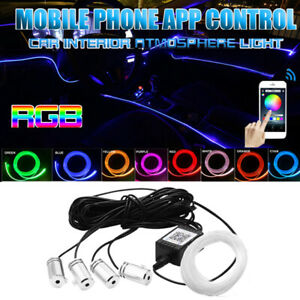 4 In1 Car Phone App Control Rgb Neon Led Strip Light Tube Atmosphere Decor Lamp