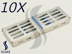 10 X Dental Sterilization Cassette Rack Tray Box For 5 Surgical Instruments