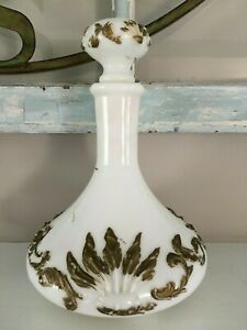 Vintage Antique Milk Glass Decanter Ornate Victorian Design Gold Accent Stopper