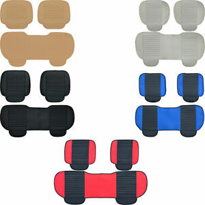 New Breathable Pu Leather Black Seat Cover Set Cushion Pad For Cars Suv Trucks