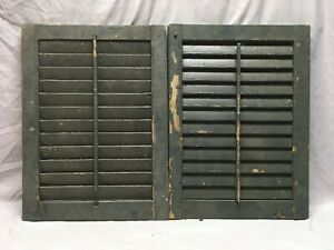 Small Pair Antique House Window Wood Louvered Shutters 25x18 Old Vtg 128 19e