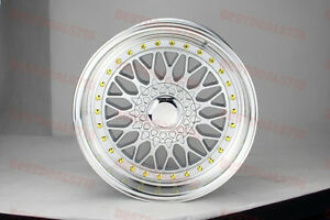 17x7 5 Silver gold Machined Lip Rs Style Rims Wheels Fits 5x100
