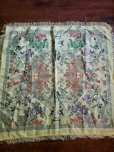 Vtg Antique Small 2 Sided Chinese Canton Embroidered Silk Piano Scarf Shawl