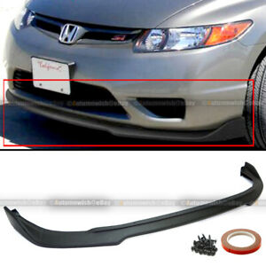 Fit 06 08 Civic 2dr Coupe Cs Style Pu Unpainted Front Bumper Lip Body Kit Add On