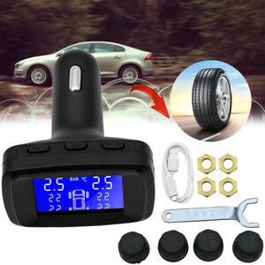 Lcd Car Tpms Tyre Tire Pressure Monitoring System Wireless 4 External Sensor Us