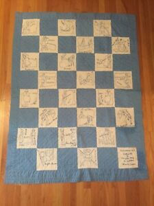 Antique Blue White Embroidered Autograph Quilt Dated 1927 1971 Pioneer Theme