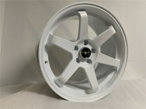 18 White Te37 Style Staggered Rims Wheels Fits 5x114 3 Jdm Grid Fit 5x114