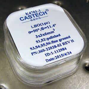New Castech Lbo Crystal 3 X 3 X 6 Mm For Dpss Laser Shg Frequency Doubling