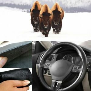 16 40cm Genuine Leather Car Steering Wheel Cover Hand Stitching Diy Universal