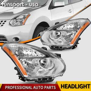 Headlights Assembly For 2008 2013 Nissan Rogue Clear Chrome Headlamps Left right