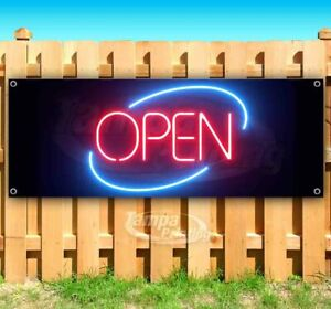 Open Neon Advertising Vinyl Banner Flag Sign Many Sizes Usa