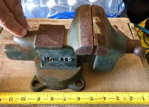 Vintage Littlestown No 112 Swivel Bench Vise 3 5 Wide Jaws Anvil Cast Iron Usa