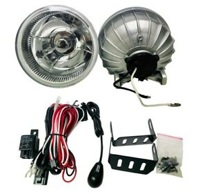 5 Inch Universal Clear Round Glass Fog Light Lamp W Built In Bulb And Wiring