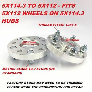 2pc 20mm Hubcentric Wheel Adapters Spacers 5x114 3 To 5x112 67 1 To 57 1 Bore