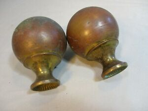 Pair Antique Ball Finials For Brass Bed Fabulous Patina 2 1 2 Dia