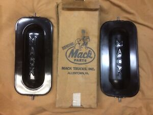 Vintage Mack Truck Nos Outside Mirrors With Raised Mack 47001b Pair