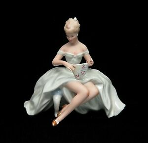 Wallendorf Germany Ballerina With Fan Porcelain Figurine