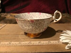 Old Royal Gray Pink Floral Gold Trim Tea Cup Bone China England