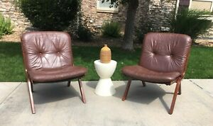 Vintage Mid Century Modern Danish Lounge Chairs Westnofa Pair Leather Relling