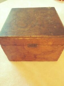 Antique Pyrography Box Victorian Flowers Velvet Lining Signature T