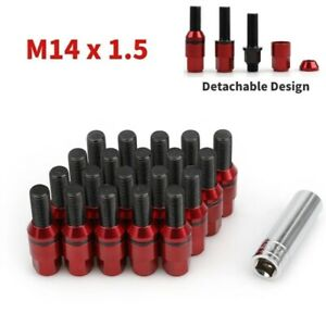 20 Steel Wheel Lug Bolts Nuts M14x1 5 Red Cone Seat Extended Stud Key For Audi