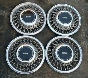 Set Of 4 Oem 1990 90 Chrysler Imperial 14 Wire Spoke Hubcaps Wheel Covers