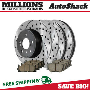 Front Rear Performance Drilled Slotted Brake Rotors Ceramic Pads Kit