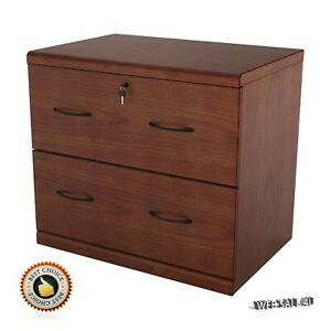 2 Drawer Wooden File Cabinet Vertical Letter Deep Filing Safe Office Furniture