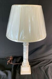 Vintage Alabaster Lamp With Shade White Marble