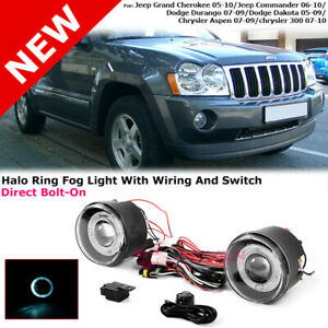 Pair Of Halo Ring Fog Lights For Jeep Grand Cherokee 05 10 Commander 06 10