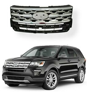 For 2018 2019 Ford Explorer Front Bumper Grill Grille Factory Replacement Silver