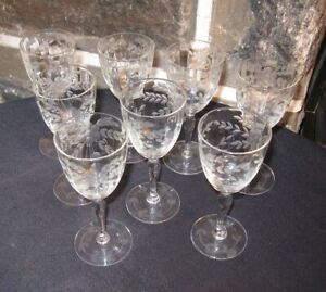 Vintage Wine Glass Cordial Gorgeous Lot Of 8 Optic Etched Bowl Foot Free Ship
