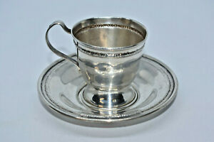 Antique Sterling Silver Demitasse Cup And Saucer