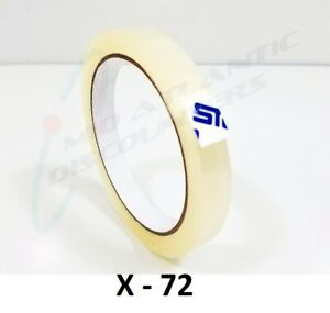 72 Rolls 12mm X 66m Clear Transparent Tape Sealing Packing Stationery
