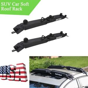 2pcs Foldable Car Soft Roof Rack Black Pvc Surfboards Snowboards Holder Carrier