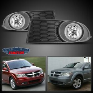Fit 10 19 Dodge Journey Pair Oe Fog Light Lamp wiring switch Kit Dot Clear Lens