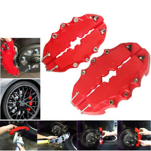 4pcs Brembo Style 3d Red Disc Brake Caliper Covers Front Rear Kits Auto Parts