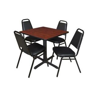 Cain 30in Square Breakroom Table Cherry 4 Restaurant Stack Chairs Black