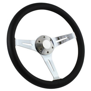15 Chrome Empire Black Leather 6 Hole Steering Wheel W Horn Button