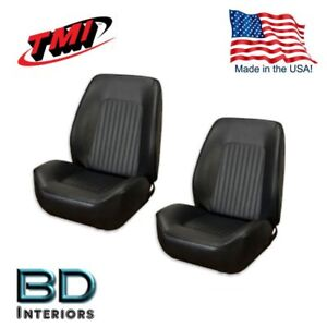 1967 1968 Chevy Camaro Black Sport Ii Front Bucket Seat Upholstery Made In Usa