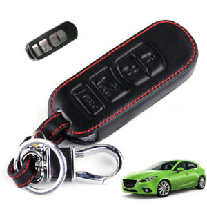 For Mazda 3 2009 2012 Leather 4 Buttons Remote Smart Key Case Cover Accessories
