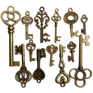 13pcs Retro Vintage Old Look Skeleton Key Pendant Heart Bow Lock Home Decoration