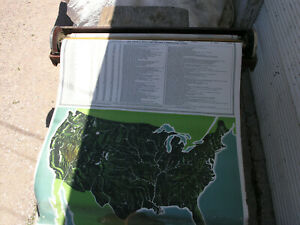 1913 Pull Down School Maps Case Us North South America Europe Asia Globe Wwi