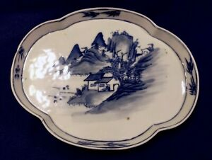 Antique Very Old Chinese Canton Export Porcelain Blue White Lobed Tray