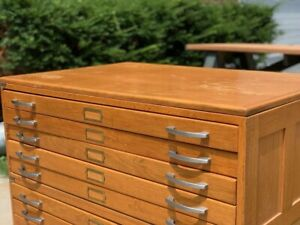 Hamilton Flat File Cabinet Light Oak Chrome Handle Map Plan 10 Drawer Unit