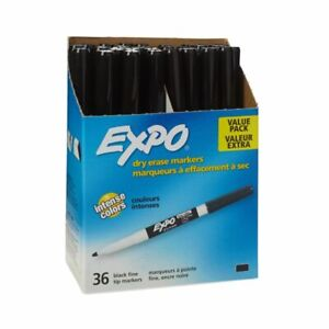 Expo Low odor Dry erase Markers Fine Point Black Pack Of 36
