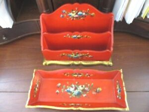 Antique Painted Floral Red Gold Italian Florentine Tole Wood Desk Caddy Tray
