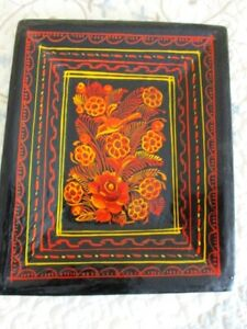 Antique Hand Painted Wood Folk Art Flowers Mexican Olinala Tole Tray W Bird